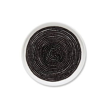 Oiva Räsymatto Teller Ø 13.5 cm von Marimekko in Schwarz / Weiß