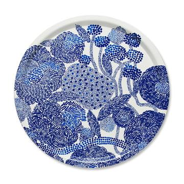 Mynsteri Tablett rund Ø 46 cm von Marimekko in Blau / Weiß