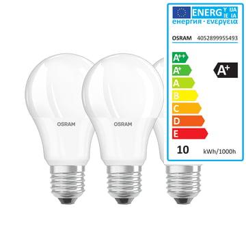 Das Osram - LED Base Retro A60 Leuchtmittel, E27 / 9 W, Warmweiß 2700K, 806 lm, matt (3er-Set)