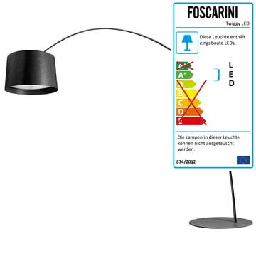 Die Foscarini   Twice As Twiggy LED Bogenleuchte, Dimmbar, Schwarz