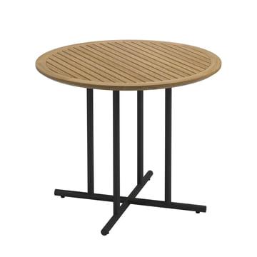 Der Gloster - Whirl Tisch, Ø 90 x H 74 cm, Teak / weiß