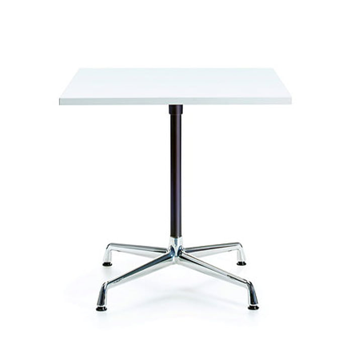 Contract Table quadratisch von Vitra in Melamin weiß / Chrom, basic dark