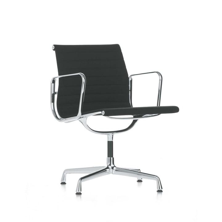 Alu-Chair EA 108 Chrom, drehbar, mit Armlehnen von Vitra in Hopsak Schwarz