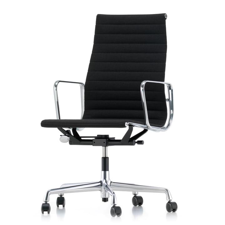 Alu-Chair EA 119 Chrom, drehbar, Armlehnen, Hopsak, schwarz von Vitra
