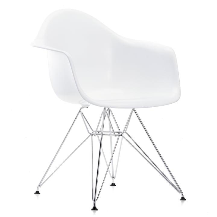 Vitra - Eames Plastic Armchair DAR, verchromt / weiß, Filzgleiter schwarz