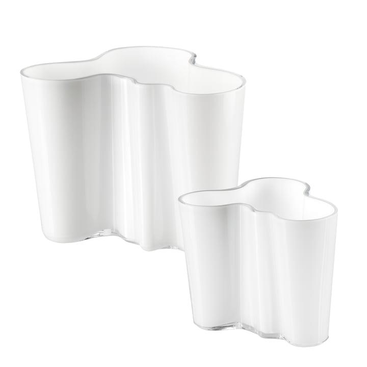 Aalto Vasen-Set 160 + 95 mm von Iittala in opalweiß