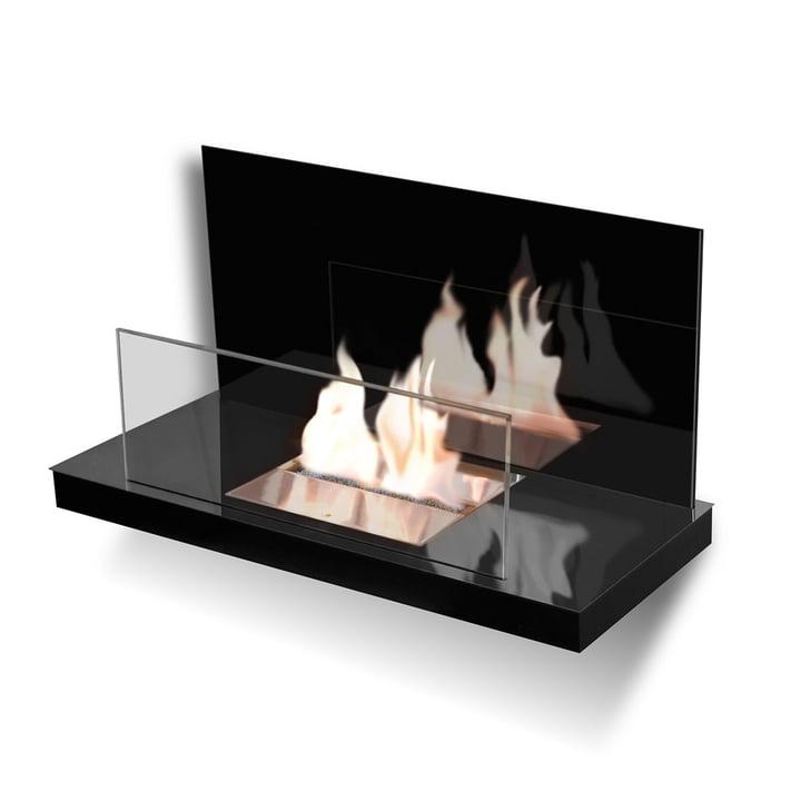 Wallflame II - Edelstahl, hochglanz/ Glas, schwarz