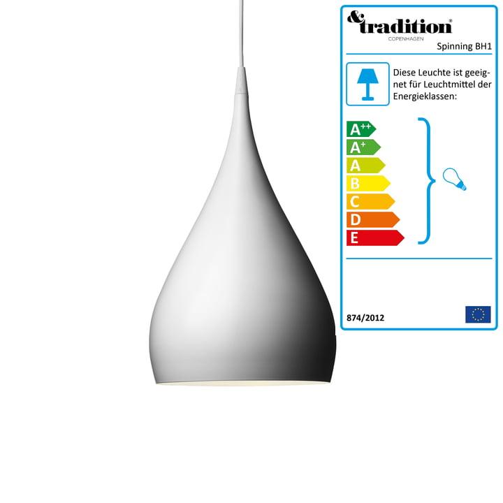 Spinning Light BH1 Pendelleuchte von &Tradition in weiß