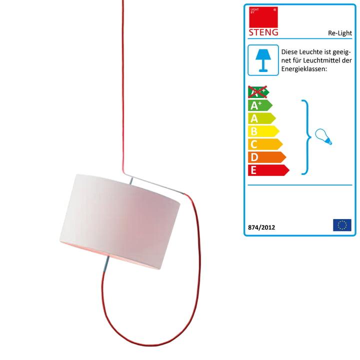 Steng Licht - Re-Light Pendelleuchte, Schirm weiß, Kabel rot