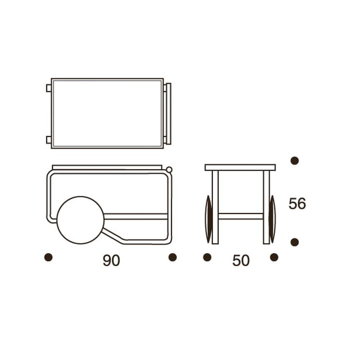 Technische Zeichung mit Abmessungen des 901 Servierwagen