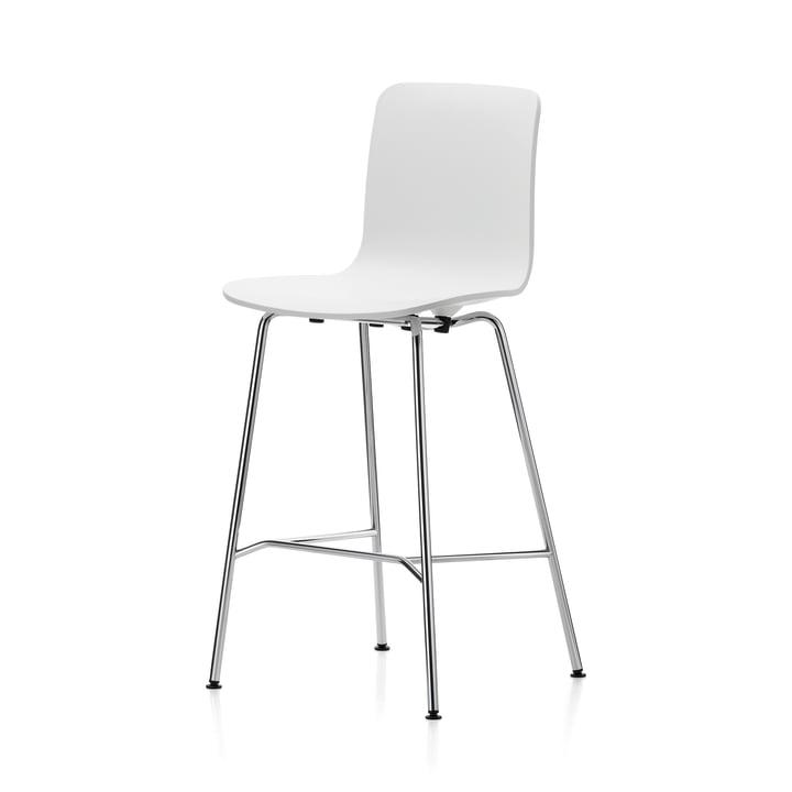Vitra - Hal Barhocker, medium, weiß / chrom / schwarze Kunststoffgleiter