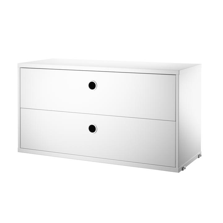 Schrankmodul mit Schubladen 78 x 30 cm von String in Weiß