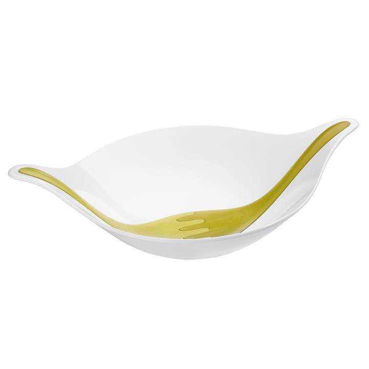 Leaf Salatschüssel mit Besteck 4.5 L von Koziol in Weiß / Oliv / Senfgrün