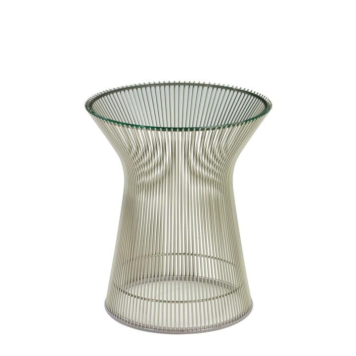 Knoll - Platner Beistelltisch, Nickel poliert / Kristallglas