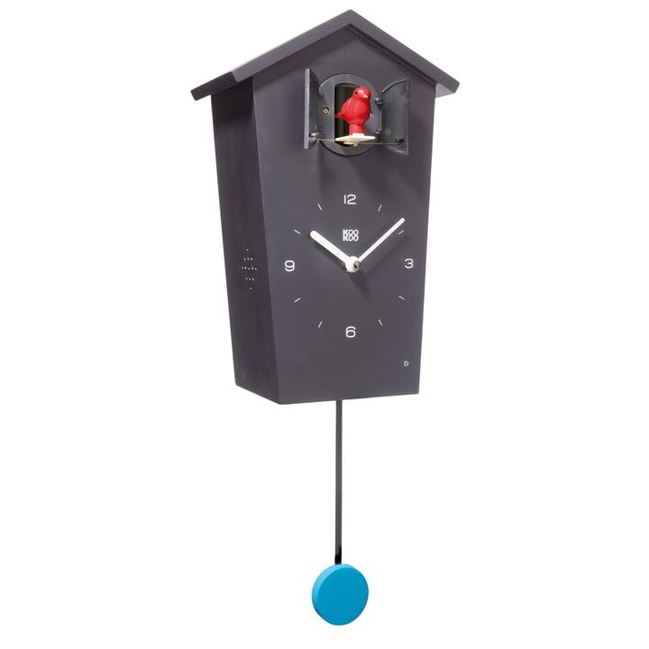 KooKoo - Bird House Kuckucksuhr schwarz, Vogel rot, Pendel blau