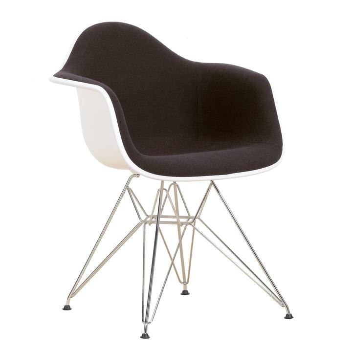 Eames Plastic Armchair DAR - Vollpolster, Hopsak nero/chocolate