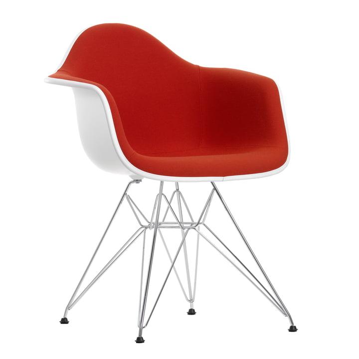 Eames Plastic Armchair DAR - Vollpolster, Hopsak rot/orange
