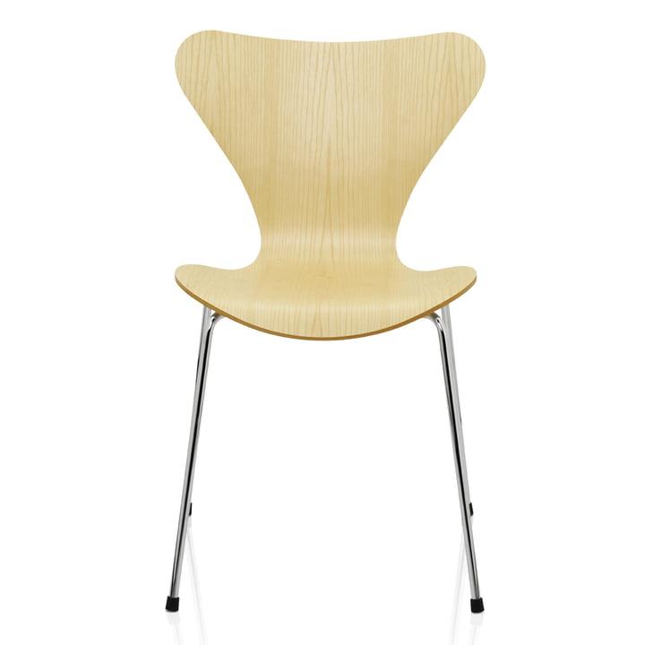 Serie 7 Stuhl (46,5 cm) von Fritz Hansen in Esche Natur / verchromt