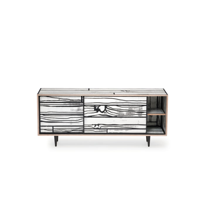 Established & Sons - WrongWoods Sideboard, weiß mit schwarz