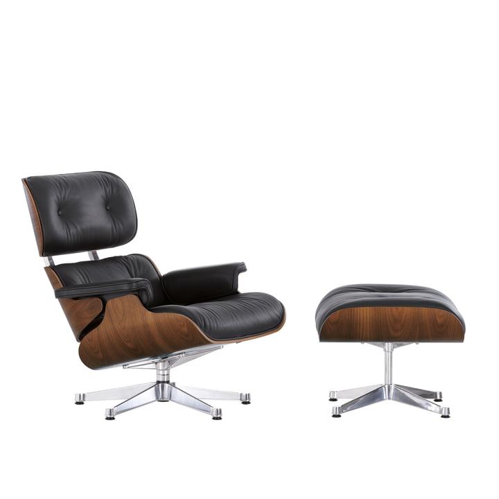 Vitra - Lounge chair & Ottoman in Wallnuss verschromt