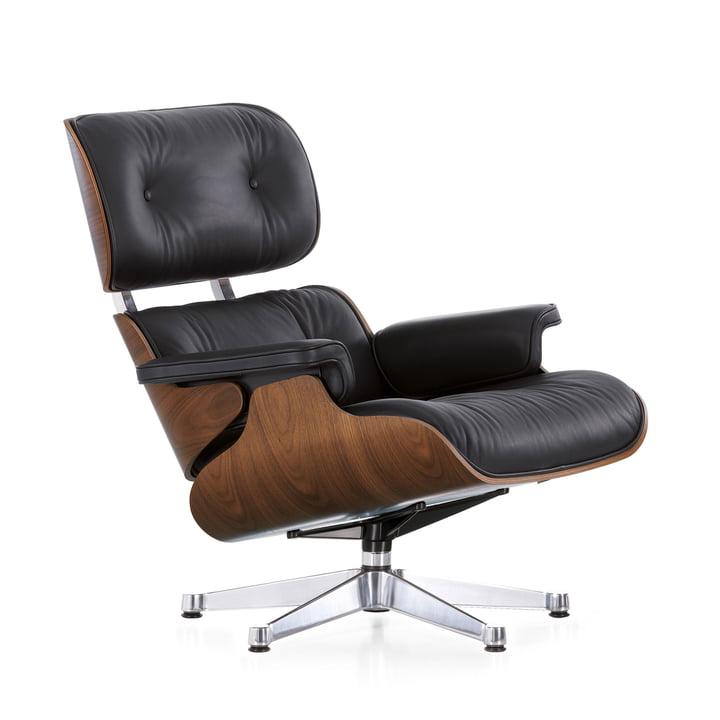 Vitra-Lounge-Chair-schwarz-pigmentiert-verchromt-Nussbaum-untergestell-schwarz-chrom-