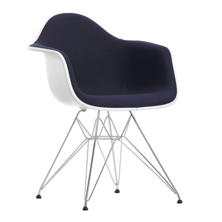 Eames Plastic Armchair DAR - Vollpolster, Hopsak dunkelblau/moorbraun