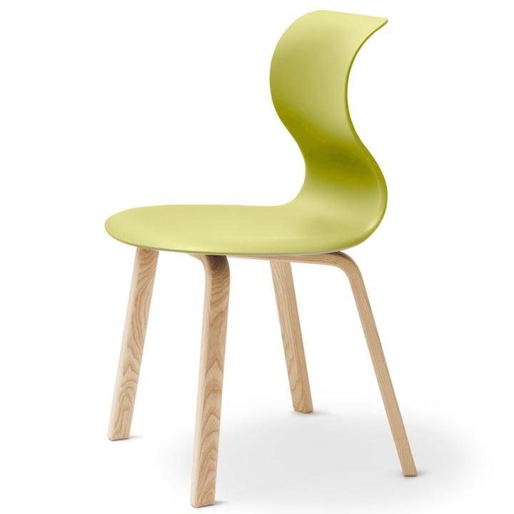 Flötotto - Pro 6 Stuhl, Vierbeinholzgestell, Kiwigrün