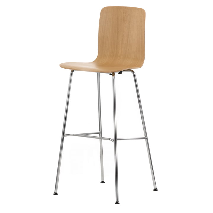 Vitra - Hal Ply Stool High, Eiche hell, Kunststoffgleiter
