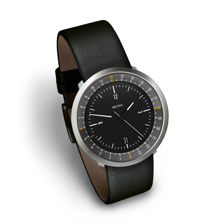 Botta Design - Mondo Armbanduhr, schwarz / Lederarmband