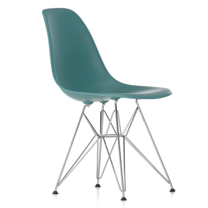 Eames Plastic Side Chair DSR von Vitra in verchromt / ocean
