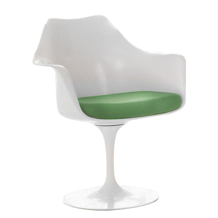 Drehender Saarinen Tulip Armlehnstuhl von Knoll in Weiß/Sitzkissen in Avocado