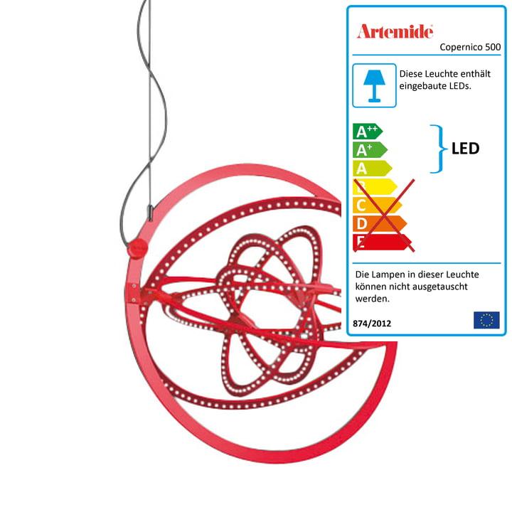 Artemide - Copernico 500 LED Pendelleuchte, rot