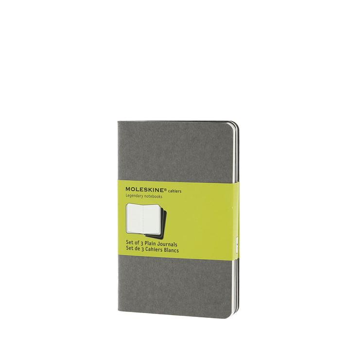 Cahier Pocket blanko von Moleskine in warmem Hellgrau (3er-Set)