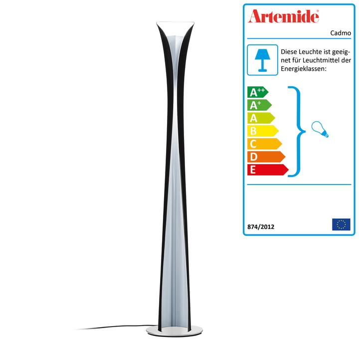 Artemide - Cadmo Stehleuchte, schwarz / innen weiß