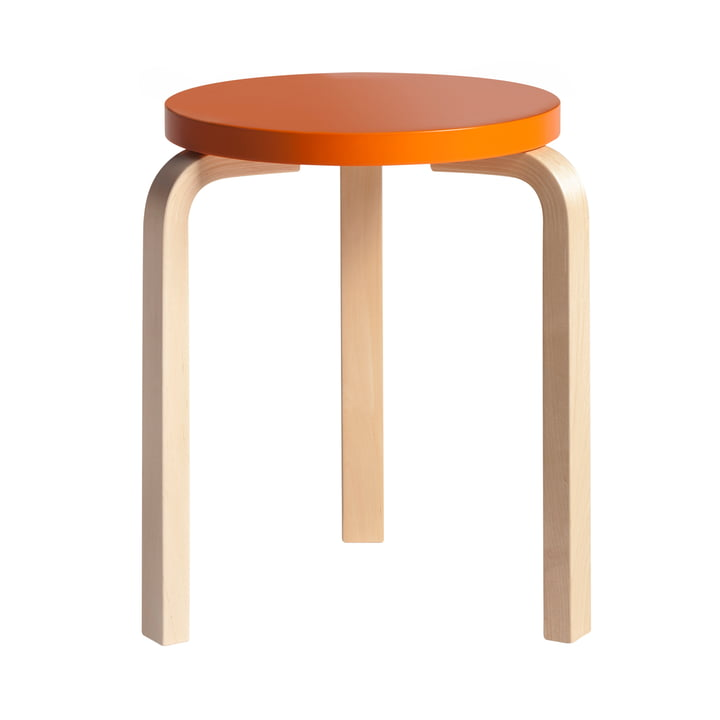 Artek - Hocker 60, orange lackiert/ Birke natur