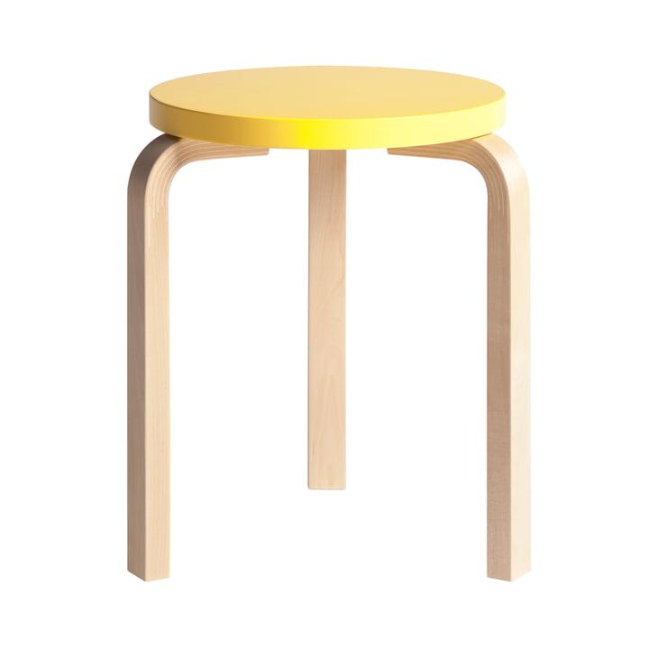 Artek - Hocker 60, gelb lackiert/ Birke natur