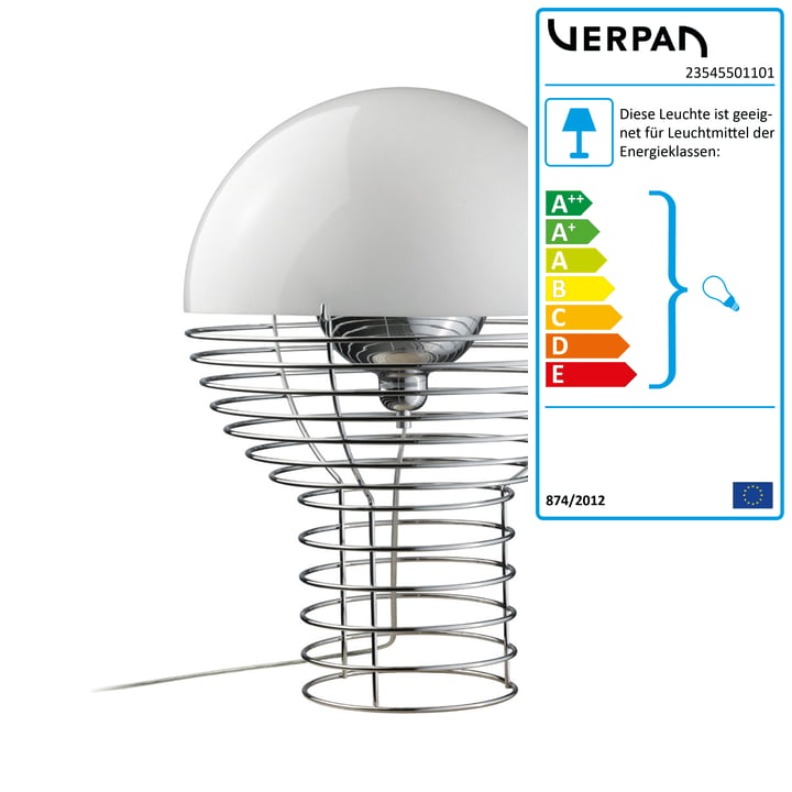 Wire Tischleuchte Ø 30 cm von Verpan in Weiß