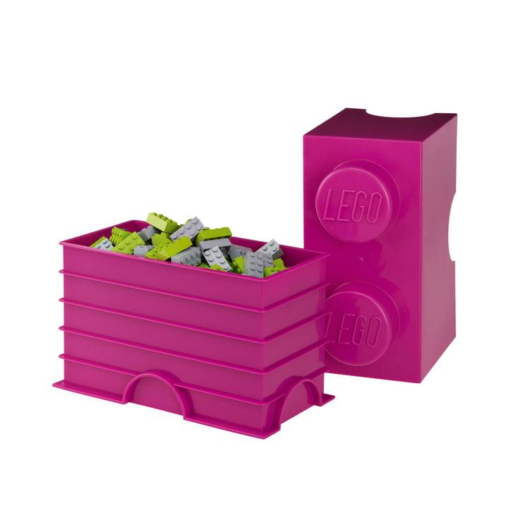 Lego - Storage Brick 2, lila - offen, gefüllt