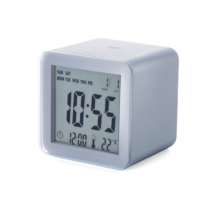 Lexon - Cube Sensor LCD Wecker, Aluminium silber
