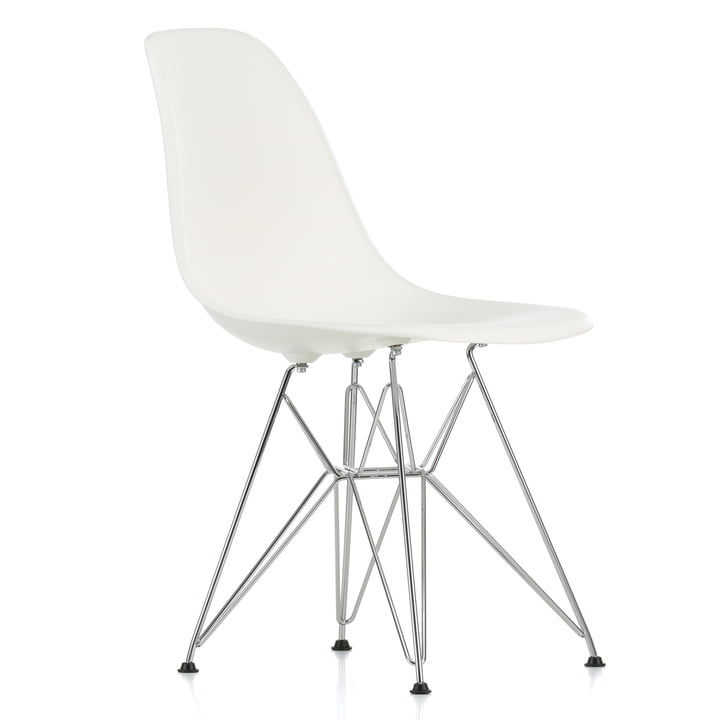 Eames Plastic Side Chair DSR von Vitra in verchromt / weiß