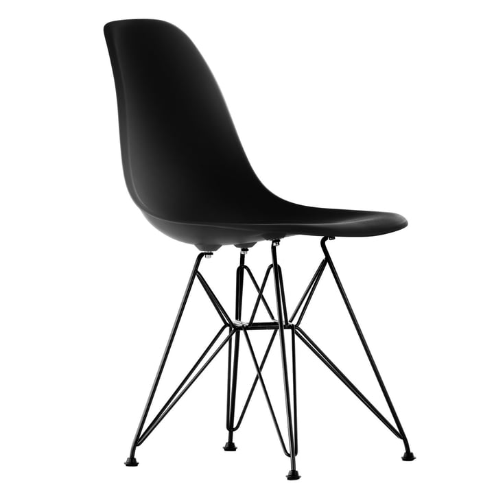 Vitra - Eames Plastic Side Chair DSR, schwarz / basic dark, Filz