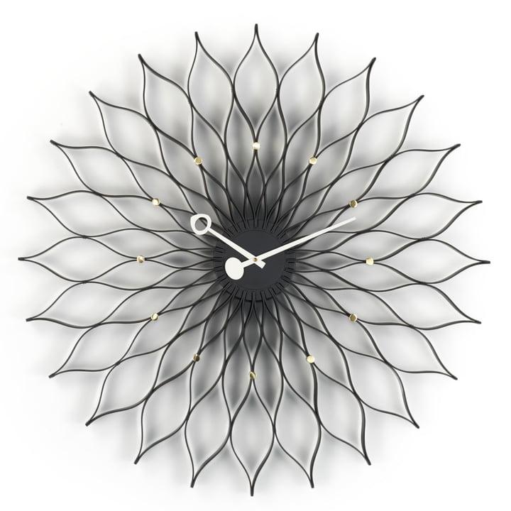 Vitra - Sunflower Clock, schwarz/ messing