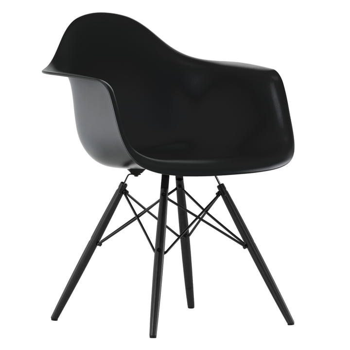 Vitra - Eames Plastic Armchair DAW, basic dark, Ahorn schwarz