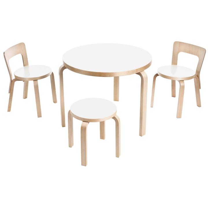 Artek - Tisch 90B, Kinderstuhl N65 und Kinderhocker NE60