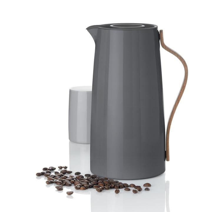 Die Stelton - Emma Kaffeeisolierkanne grau mit Thermobecher
