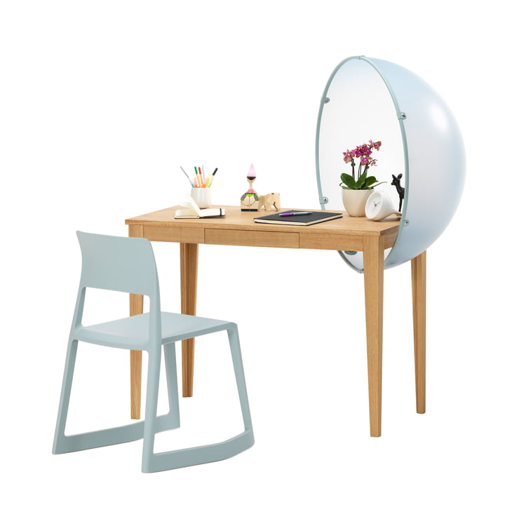 Vitra - Sphere Table, Gruppe blau, mit Tip Ton