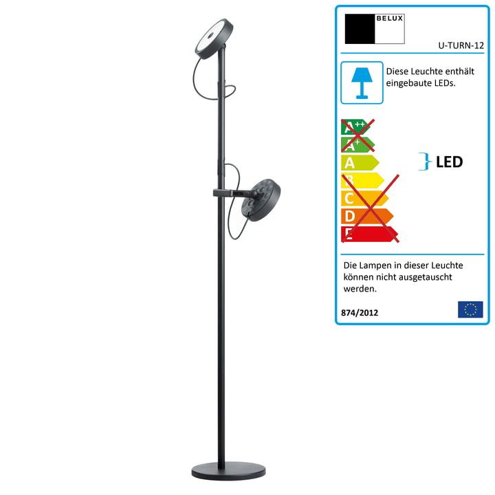 U-Turn Steh-Leseleuchte LED Dimmbar von Belux in Schwarz