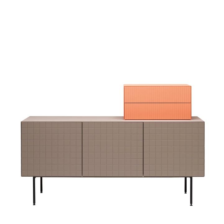 Casamania - Toshi Sideboard, Cabinet 3, Füße, warmgrau - Aufsatz