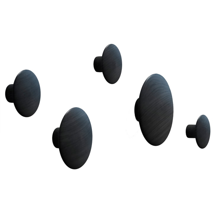 "Wandhaken ""The Dots"" 5er Set von Muuto in schwarz"