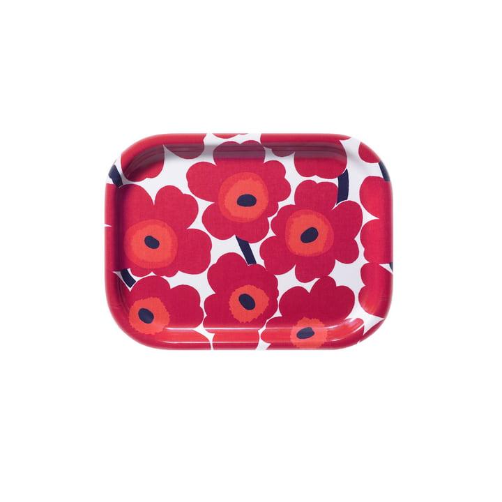 Mini-Unikko Tablett 27 x 20 cm von Marimekko in Weiß / Rot